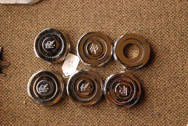 A set of six very well restored Rolls-Royce Phantom III hub locks,