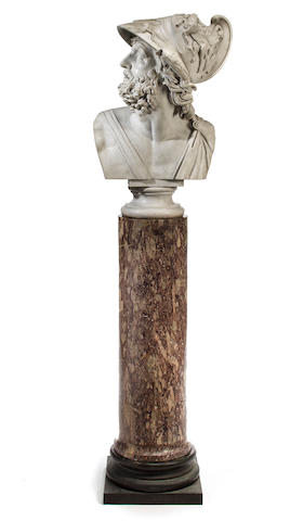 A large white marble bust of Menelaus set on a purple marble column with a bronze base, Italy or france, 19th century