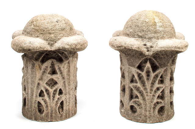 A pair of carved staddle stones English, late 19th/early 20th century