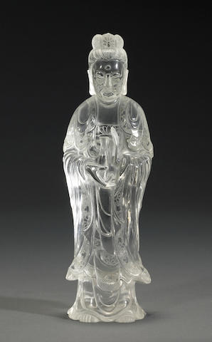 A clear carved glass standing Guanyin Republic period