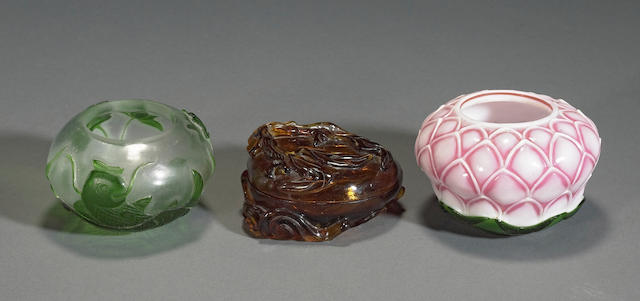 Three Peking glass decorations