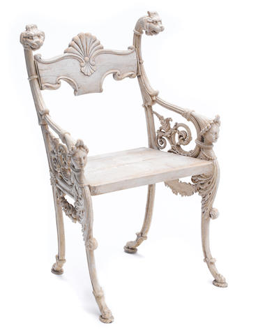A Victorian cast iron garden chair