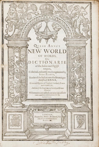 Florio, John, 1553?-1625 - Queen Anna's New World of Words....  L, 1611 - Folio, - calf