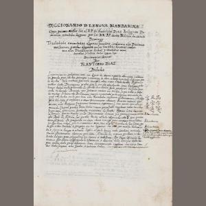 "DIAZ, FRANCISCO. 1606-1646. Manuscript, ""Diccionario de la lengua mandarina,"" revised and expanded by Antonio Diaz. [Fuan, Fujian? late 17th century.]"