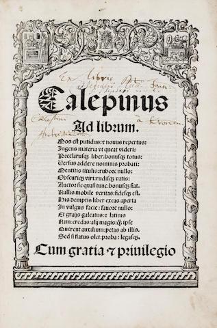 CALEPINO, AMBROGIO. 1435-1511. [Dictionarium.] Calepinus Ad librum. Mos est putidas.... Venice: Peter Liechtenstein, January 3, 1509.<BR />