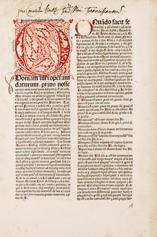 KOBERGER, ANTON, printer. Vocabularius juris utriusque. Nuremberg: Anton Koberger, September 4, 1481.<BR />