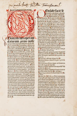 KOBERGER, ANTON, printer. Vocabularius juris utriusque. Nuremberg: Anton Koberger, September 4, 1481.<BR />