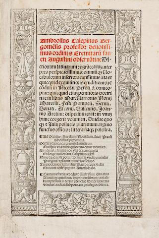 CALEPINUS, AMBROSIUS. 1435-1511. Dictionarium latinarum et graecarum interpres perspicacissimus.... Venice: Bernardinus Benalius, March 10, 1520.<BR />