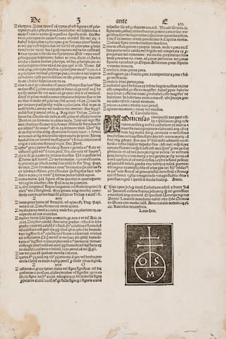 BALBI, GIOVANNI. ?-c.1298. Catholicon. Venice: Bonetus Locatellus for Octavianus Scotus, November 20, 1495.<BR />