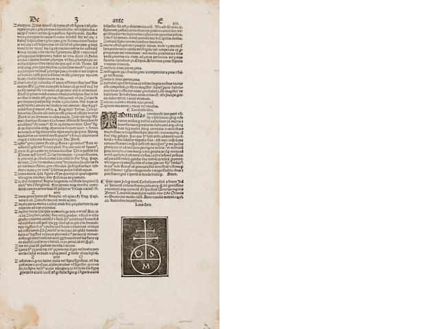 BALBUS, JOANNES. Catholicon. Venice: Bonetus Locatellus for Octavianus Scotus, Nov 20, 1495.<BR />