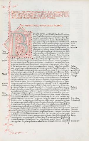 PEROTTUS, NICOLAUS. 1430-1480. Cornucopiae linguae latinae. Venice: Paganinus de Paganinis, May 14, 1489.
