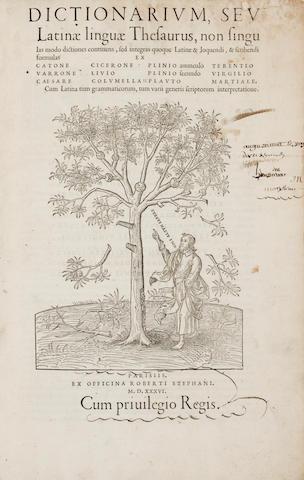 ESTIENNE, ROBERT. 1503-1559. Dictionarium, seu Latinae linguae thesaurus.... Paris: Robert Estienne, December 14, 1536.<BR />
