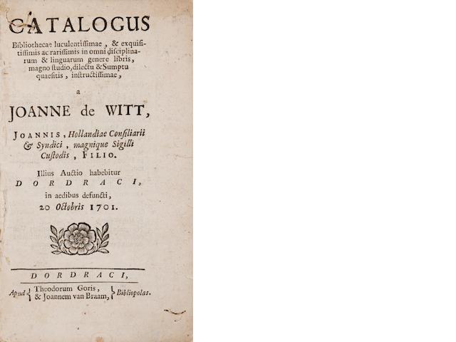 AUCTION CATALOGUE. [WITT, JOHAN DE.] Catalogus bibliotheca luculentissimae, & exquisitissimis ac rarissimis in omni disciplinarum & linguarum genere libris.... Illius auctio habibetur Dordraci ... 20 Octobris 1701 [-Pars secunda; sive numismatum ac operis prisci thesaurus]. Dordrecht & Amsterdam: T. Goris & J. van Braam, & F. Halm, 1701.