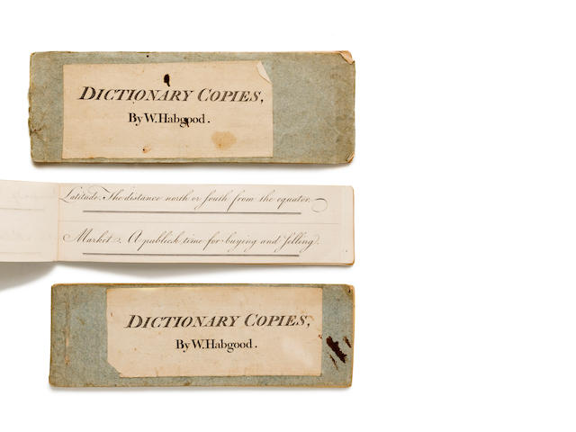 COPYBOOKS. HABGOOD, W. Dictionary Copies (cover title). [London: Bowles & Carver?], c.1800.<BR />