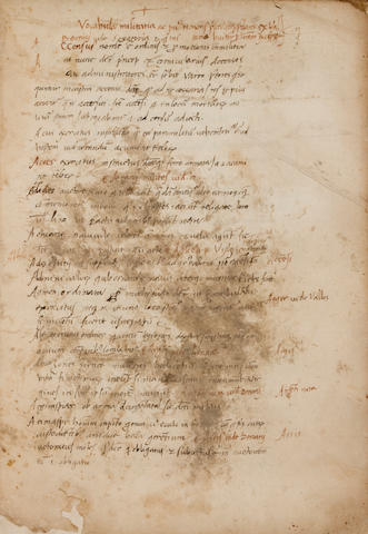 [VALTURIO, ROBERTO. 1405–1475.] Manuscript on paper, in Latin, 15 ll, folio,