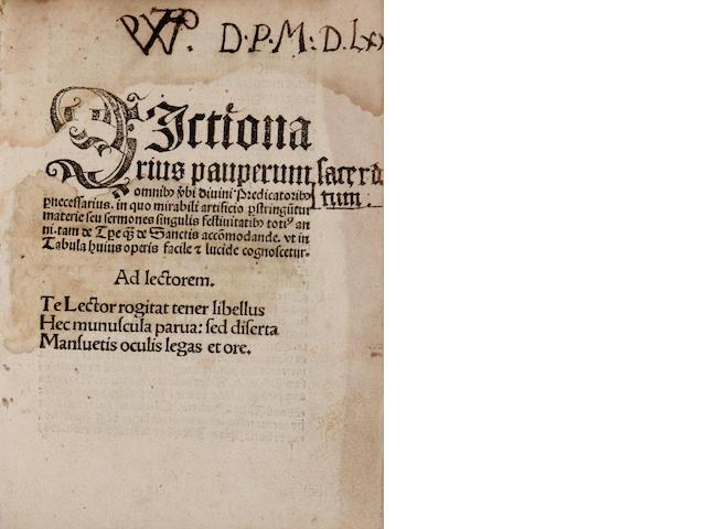[BYART, NICOLAUS DE.] Dictionarius pauperum omnibus verbi divini Predicatoribus pernecessarius. Cologne: Quentell, 1505.