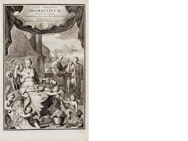 POLLUX, JULIUS. Onomasticum graece & latine. Amsterdam: Wetsten, 1706.