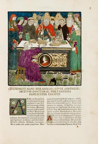 NANNUS MIRABELLIUS, DOMINICUS. Polyanthea opus suavissimus floribus exornatum compositum.... Savona: Francesco Silva, Ides of February, 1503.<BR />