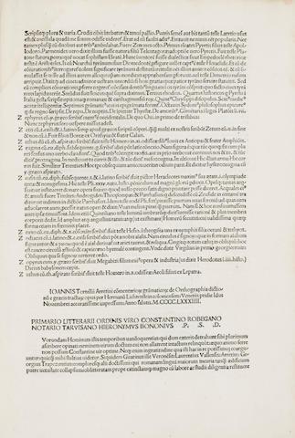 TORTELLI, GIOVANNI. 1400-1466. De orthographia dictionum e Graecis tractarum. Venice: Hermann Liechtenstein, November 12, 1484.<BR />