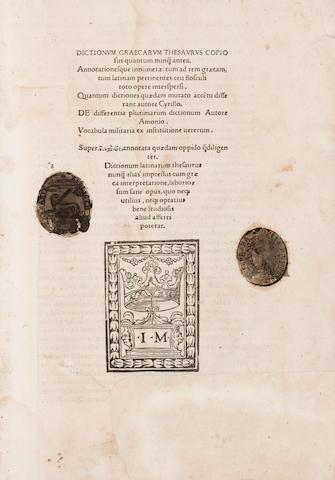 TRICAELIUS, JOHANNES MARIA, editor. Dictionum graecarum thesaurus copiosus. Ferrara: Joannes Macciochius Bondenus, 1510.<BR />