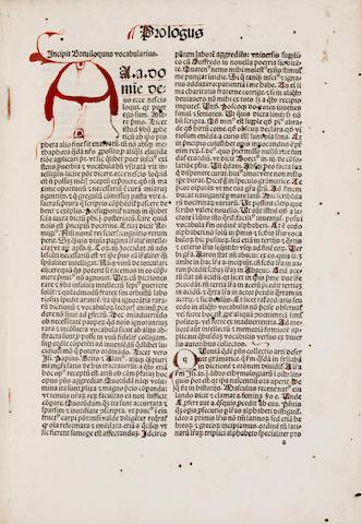 REUCHLIN, JOHANNES. 1455-1522. Vocabularius breviloquus cum arte dipthongandi, punctandi, et accentuandi. Strassburg: [printer of the Jordanus de Quedlinburg], August 25, 1501.