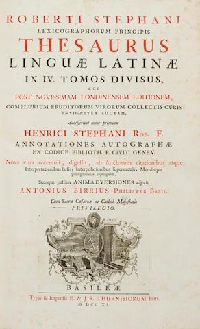 ESTIENNE, ROBERT. 1503-1559. Lexicographorum principis thesaurus linguae latinae....  Basel: E. & J.R. Thurnisiorum, 1740-1743.