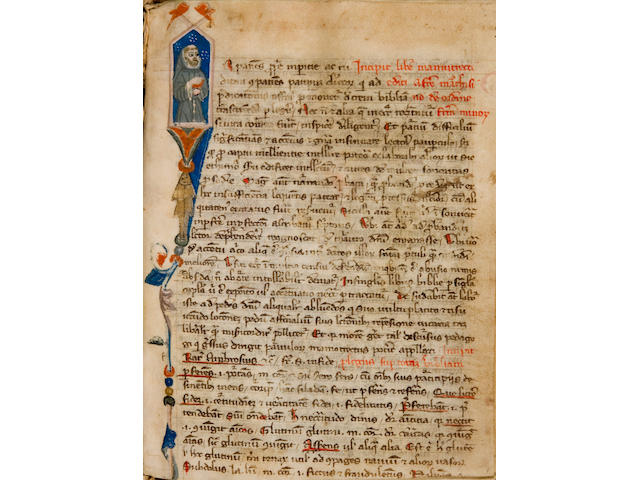 MARCHESINUS, JOANNES. Late 13th/early 14th c. Illuminated Latin manuscript on vellum, Mammotrectus. [Italy, early 14th century.]<BR />
