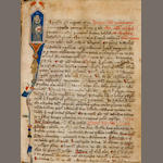 MARCHESINUS, JOANNES. Illuminated Latin manuscript on vellum, Mammotrectus, being a dictionary of the Bible, saints, and sermons. [Italy, early 14th century.]