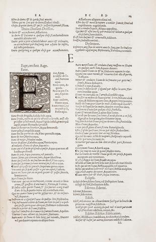 ESTIENNE, ROBERT. 1503-1559. Dictionaire Francoislatin, contenant les motz & manieres de parler Francois, tournez en Latin. Paris: Robert Estienne, 1539 [but 1540].