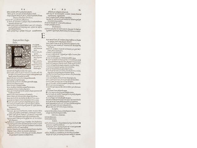 ESTIENNE, ROBERT. Dictionaire Francoislatin, contenant les motz & manieres de parler Francois, tournez en Latin