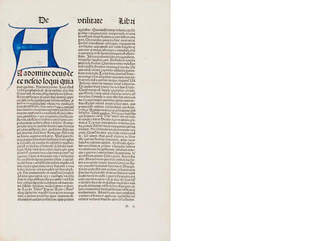 REUCHLIN, JOHANNES. 1455-1522. Breviloquus vocabularius cum arte diphthongandi.... Cologne: [Heinrich Quentell], 1486.<BR />