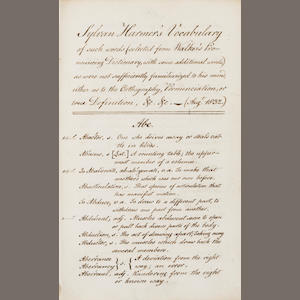 "HARMER, SYLVAN.  Manuscript entitled, ""Sylvan Harmer's Vocabulary of such words (selected from Walker's Pronouncing Dictionary, with some additional words) as were not sufficiently familiarized to his mind, either as to the Orthography, Pronunciation, or true Definition, &c. &c.-Aug<sup>t</sup>. 1832."""