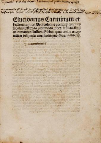 """VAN DER BEKE, HERMANN. (""""HERMANNUS TORRENTINUS."""") c.1450-1520. Elucidarius carminum et historiarum. vel Vocabularius poeticus..... Deventer: Richard Pafraet, 1501.<BR />"""