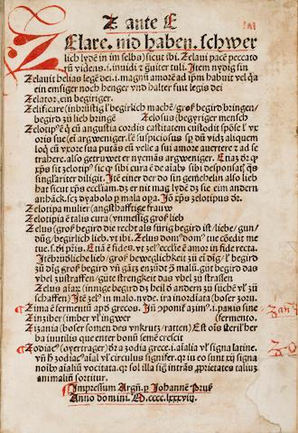 Melber, Johannes - Vocabularius praedicantium, sive variloquus.  Strassburg: Johann Pruess, 1488 - 4to, - 19th-cent mor -