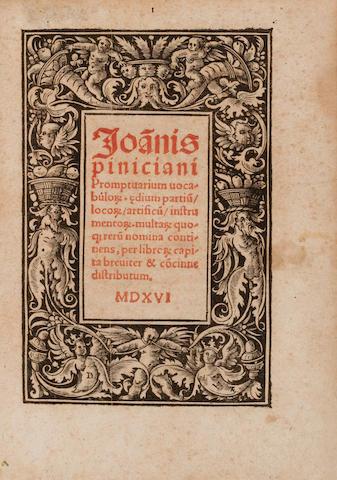 PINCIANUS, JOHANNES. fl.1510-1530s. Promptuarium vocabulorum.... Augsburg: Otmar, January 1516.<BR />