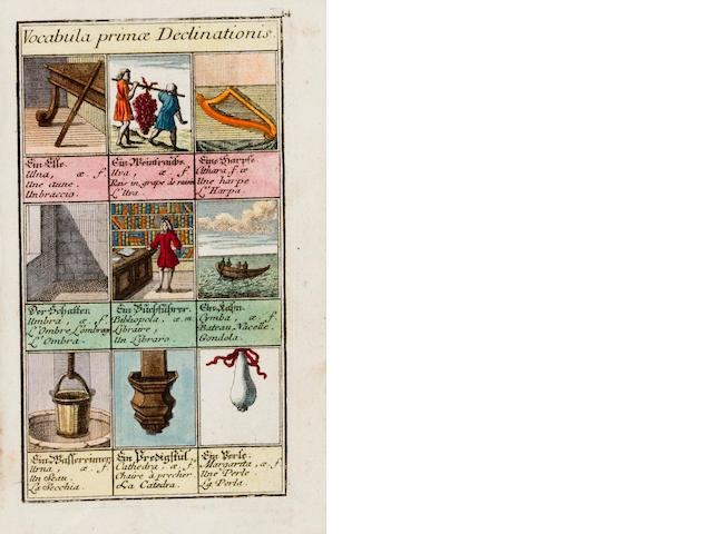 PICTURE DICTIONARY. Kleines Bilder-Cabinet Zu Erlernung der Vier Sprachen I. Teutsch, II. Lateinisch, III. Französisch und IV. Italiänisch.  Augsburg: Martin Engelbrecht, c.1740.<BR />