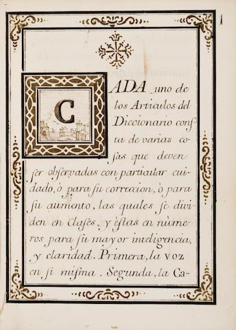 SPANISH ACADEMY—DICTIONARY RULES. Manuscript on paper, Nuevas reglas que ha formado la Academia Español para la correccion, y aumento del diccionario. [Madrid], 1757.