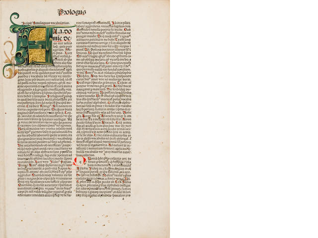 Reuchlin, Johannes, 1455-1522 - Vocabularius breviloquus cum arte diphthongandi....  Strassburg: Printer of the 1483 Jordanus de Quedlinburg, 14 June, 1488 - Folio, - 20th-cent calf with remains of orig blind-stamped bdg mtd on sides - Some worming; 1st 6 & last 12 leaves repaired, restored or silked; wormed - 321 (of 322) leaves; lacking last blank.