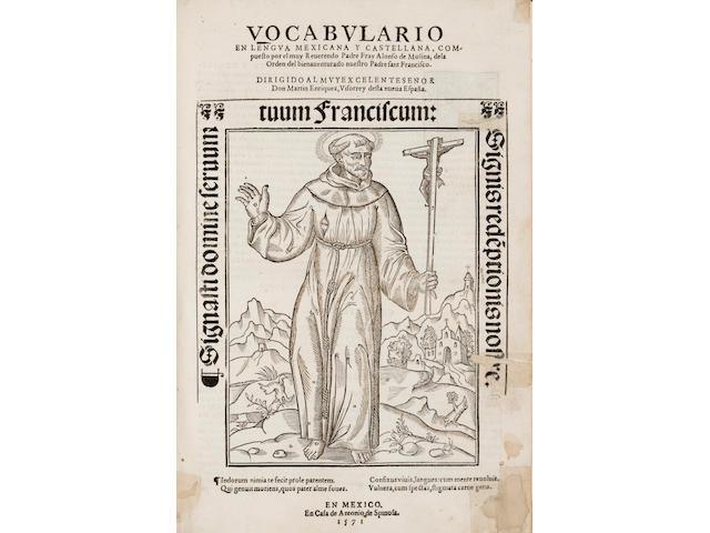 MOLINA, ALONSO DE. d.1535. Vocabulario en lengua castellana y mexicana.... Mexico: Antonio de Spinosa, 1571.<BR />
