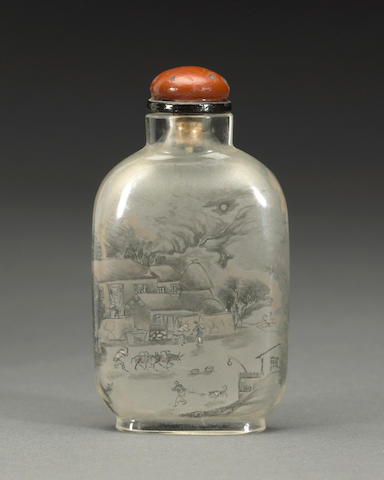 An inside-painted glass snuff bottle