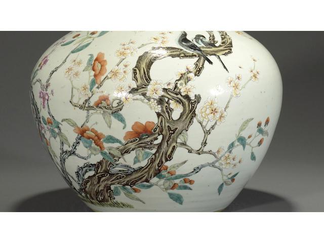 A famille rose enameled porcelain stick-neck vase Qianlong mark, Republic period