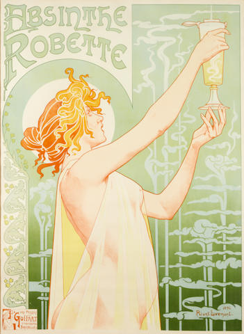 Privat livemont, Absinthe Robette, (DFP.11-1062), 1896, color lithograph, colors fresh, framed