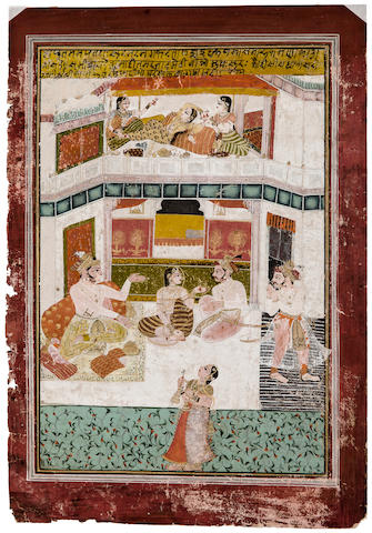 An illustration to a Krishna Rukmini series Opaque watercolor and gold on paper, Kota, early 18th century