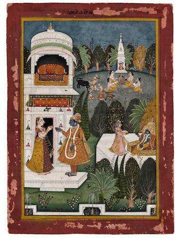 Illustration to a Rasikapriya series Opaque watercolor and gold on paper, Marwar, Late 18th century