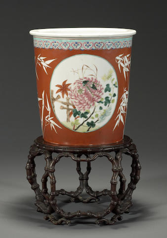 A polychrome enameled porcelain jardinière and fitted wood stand Republic period