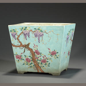 A polychrome enameled porcelain rectangular planter Late Qing/Republic period