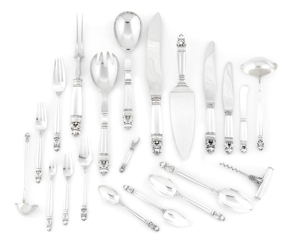 A Danish  sterling silver  assembled flatware service for twelve by Georg Jensen Silversmithy, Copenhagen,  1931 - post-1945
