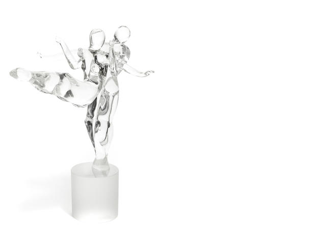 A Murano glass two-part figural sculpture