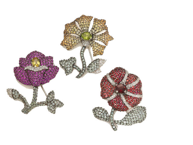 3 diamond and gem-set flower brooches 18k, D=1.45ct tw GS=30.10ct tw