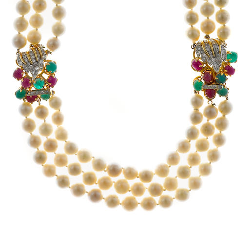 A cultured pearl, ruby, emerald and diamond three-row necklace
